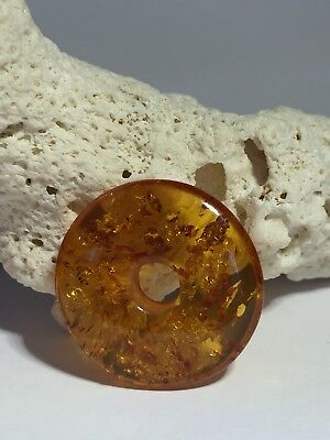 Natural Baltic Amber Donut Pendant With Hole