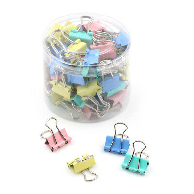 60Pcs 15mm Colorful Metal Binder Clips File Paper Clip Holder Office Supplies PE