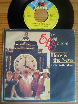 """7"""" ELO : HERE IS THE NEWS / TICKET TO THE MOON  Vinyl Single Hit 1981 + PV Hülle"""