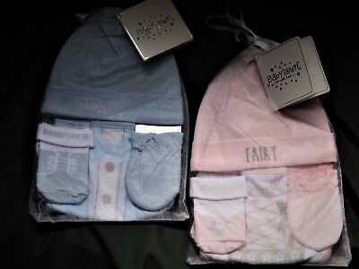 Babyboy/  Girl 4 Piece Gift Sets With Hat,bandana Bib , Mitts & Socks 0-6 Mths