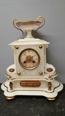 Antique French Onyx Mantle Clock with Bell Strike