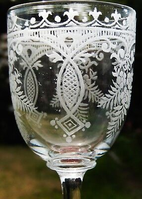 Fine Antique Victorian Hand Blown and Acid Etched Wine Glass c1870