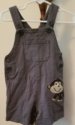 f2d9a6960 Carters Baby Boy Girl 18 Month Soft Gray Overalls Shorts Animal Face Pocket  EUC