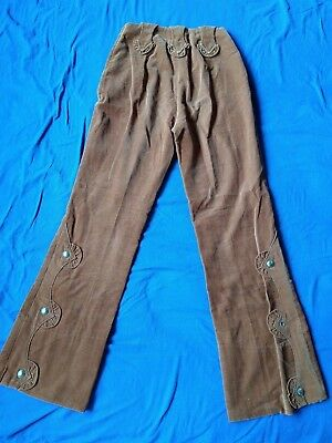 "TRUE VINTAGE ""Prior Denver"" Western Corduroy Flared Pants X-Small Cotton Retro"