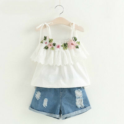 New Flower 2pcs Set Lace Top Casual Outfit Jeans Girls Summer Party Kids Clothes