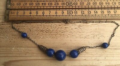 Early Vintage Necklace, Beautiful Blue Glass Beads