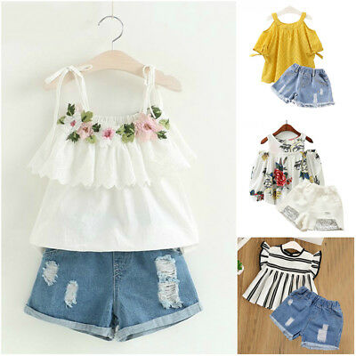 New 2pcs Cute Set Lace Top Casual Outfit Jeans Girls Summer Party Kids Clothes