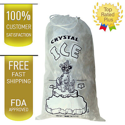 10 LB LBS 1.5 Mil Plastic Commercial Ice Bag Bags With Cotton Drawstring 100 PCs