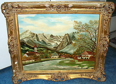 Early 20th cent. Oil On Canvas, signed Hofer Gilt Ornate Gesso Frame, Germany