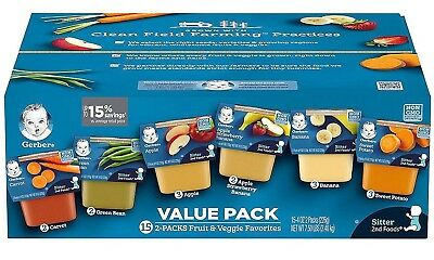 Gerber 2nd Foods Fruit & Veggie Value Pack (4 oz., 30 ct.) Free shipping **NEW**