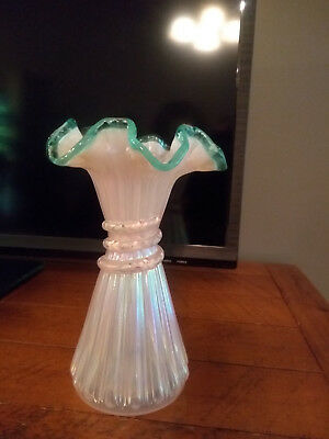 FENTON VASE handpainted & signed by L Lucas amazing it still has fenton tag