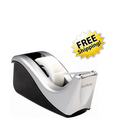 Scotch Desktop Tape Dispenser Silvertech High Quality Two Tone Heavily Weighted