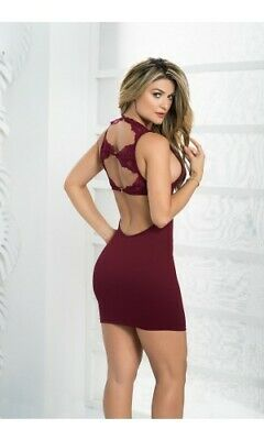 bd707a5a39f Mapale Open Lace Back   Low Scoop Neck Mini Dress 4473 ~ Black or Burgundy