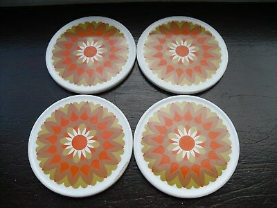 Set of Four Vintage Jersey Pottery Coasters, Orange / Brown, c1970's