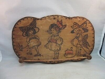Vtg 1920's signed WS childs room towel hook. Wood burned design of children