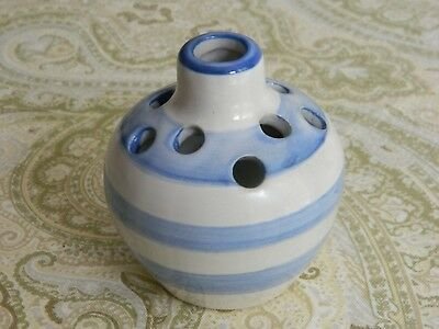 Older Signed MA Hadley Pottery Blue Striped Flower Frog Style Posy Vase
