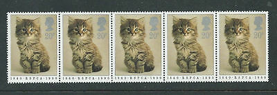 1990 Horizontal Strip of 5x20p  MNH Stamps-150th Anniversary of RSPCA (SG1479)