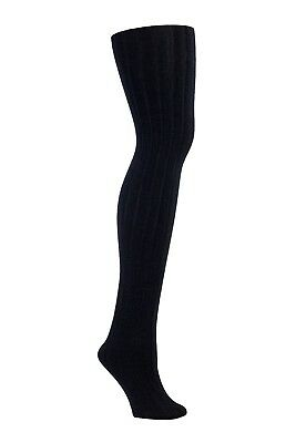 Womens Fleece Lined Ribbed Tights (Black)