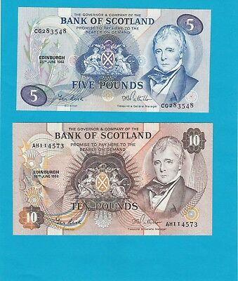 1982 £5 And £10 Bank Of Scotland, Both Notes  Gem Uncirculated Condition