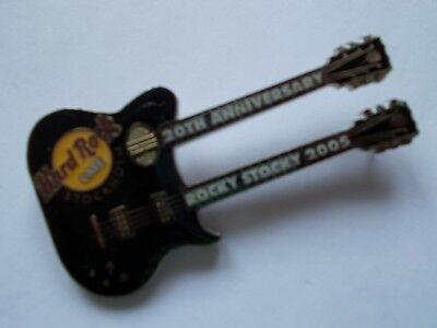 HRC Hard Rock Cafe Stockholm Guitar Pin 20th Anniversary Rocky Stocky 2005 LE150