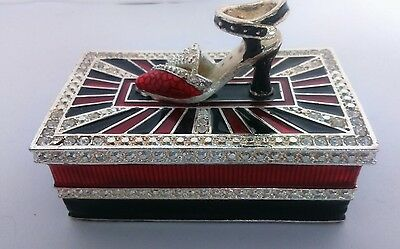 Collectable Decorative Enameled Trinket Box With Ladies Shoe  And Glass Stones