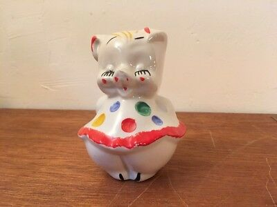 Vintage Shawnee Art Pottery Piggy Bank Polk-a-dot Skirt