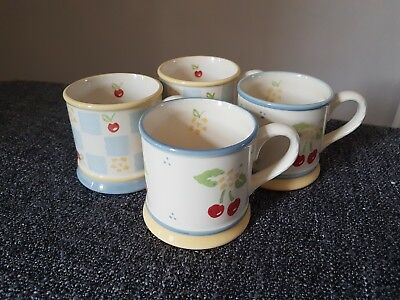 Laura Ashley Morello Cherry Summer Fruits Mugs X4 vintage 1999 blue yellow cups