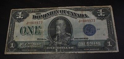 1923 $1 Dominion of Canada Goup 1 serie J  DC-25c Blue Seal