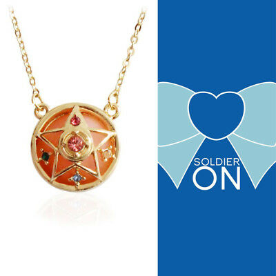 Anime Sailor Moon Star Round Crystal Metal Pendant Necklace Jewelry Cosplay
