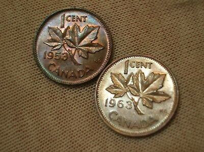 1953 Lot Of 2 Canadian Small Cents High Grade
