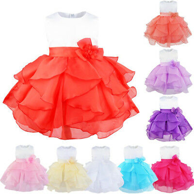 New Princess Baby Girls Dress Flower Christening Tulle Wedding Party Kids Clothe