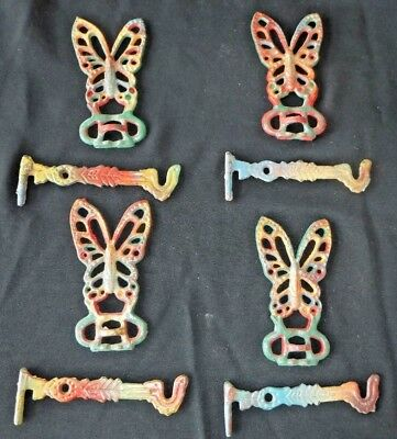 Vintage~Rainbow~Cast Iron Butterfly~Plant~Wall Hanger~Bracket~Swivel Arm 5""