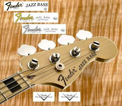 10 x Decalcomania Decal Fender Jazz Bass Serial Number Black / Gold / Grey