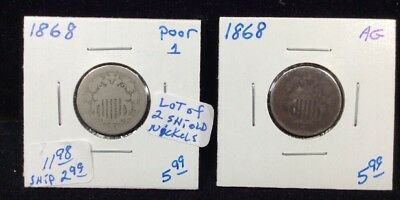 1868 Shield Nickels-Lot of 2 Coins in Circulated Condition