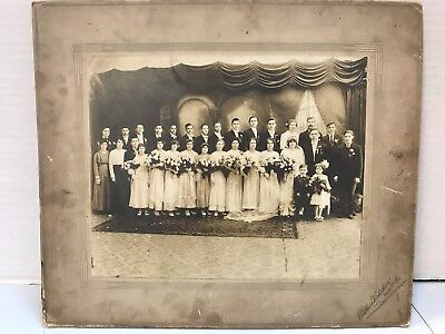 Antique Photo 1920's? Large Wedding Party photo by A. Virkshus, E. Chicago, IN