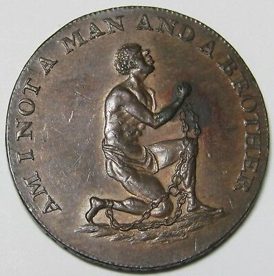 Conder Anti-slavery token. D&H1038A. Am I Not A Man And A Brother?
