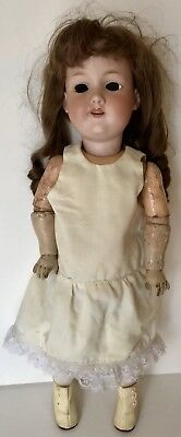 "Antique 20"" Armand Marseille Bisque Head German Doll 390 Wood / Composite Body"