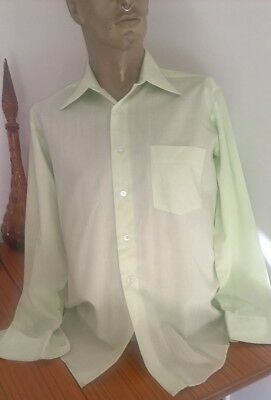 Vintage 70s pale green l/s business or disco shirt size L