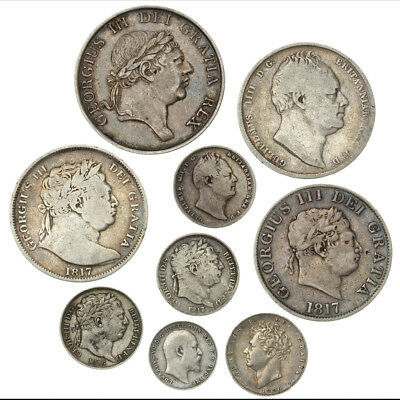 *sc* Choice Collection Of 9 Early 19Th Century England (British) Silver Coins!