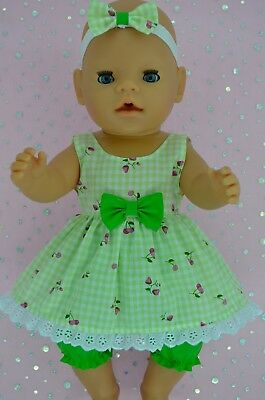 "Play n Wear Doll Clothes For 17"" Baby Born LIME GINGHAM DRESS~BLOOMERS~HEADBAND"