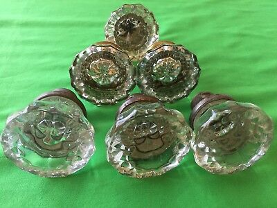 Collection of 6 Victorian 12 point crystal glass door knobs Antique