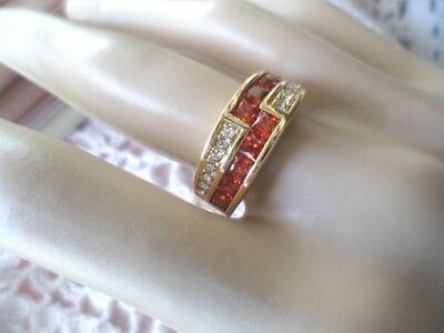 Antique vintage Art Deco Gold Band Ring Ruby Red Sapphire White stones size S 9