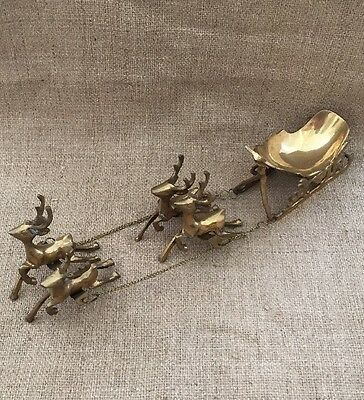 Vintage Solid Brass 4 Deer Sleigh Holiday Home Decor