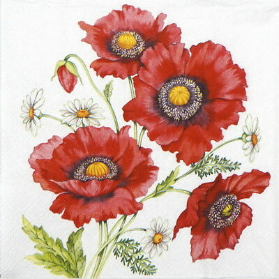4x Paper Napkins for Decoupage Decopatch Craft Poppy Secene