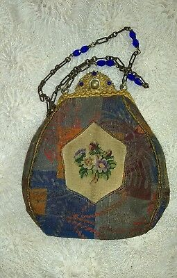 sm antique victorian petit point purse jeweled clasp & chain with accessories