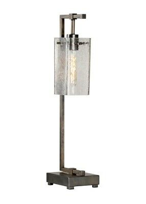 Wildwood Tavern Table Lamp - Modern Rustic Design With Crackle Glass Globe