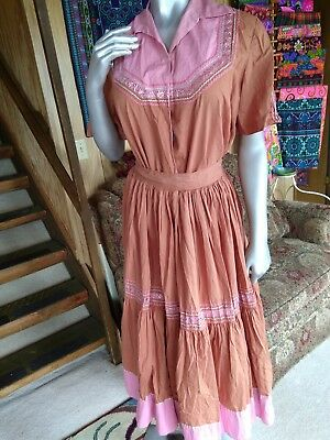 VINTAGE Boho Prairie Gypsy Square Dance 2pc Skirt Shirt Set Handmade Needs TLC