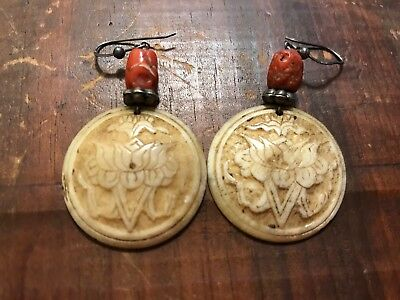 "Vintage~Earrings~Whale or ""Yak"" Bone, Fancy ""Scrim"" Style Large-Medallion Size!!"