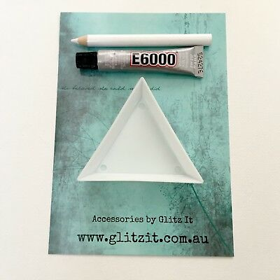 E6000 Glue Kit with Sorting Tray, Wax Pick Up Pencil for Applying Crystals Dance