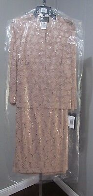 Alex Evenings 2-Piece Jacket Dress Apricot Size 12 New With Tags